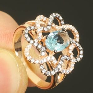 Blue Topaz Ring in Rose Gold Size 8.5